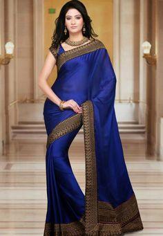 Utsav Fashion : royal-blue-faux-satin-chiffon-saree-with-blouse Latest Indian Saree, Indian Sarees Online, Lehenga Style Saree, Saree Dress, Chiffon Saree, Indian Dresses, Indian Outfits, Look Fashion, Indian Fashion