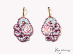 Frozen Pink Earring Vintage Soutache Small par RenaSoutacheArt