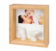 #puericultura Baby Art 34120081 – Marco para foto con material para molde de pie y mano 3D, color madera natural