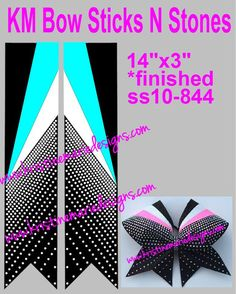 Super Bling Rhinestone Cheer Bow Strip Template By Puttabowonit On Etsy Https Www Etsy Com Listing  Super Bling Rhinestone Cheer Bow Str
