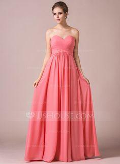A-Line/Princess Sweetheart Floor-Length Chiffon Bridesmaid Dress With Ruffle (007056569) - JJsHouse