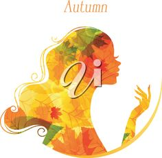 iCLIPART - Clip Art Illustration of a Woman Made of Fall Leaves #clipart #illustration #autumn