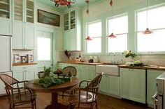 Ideas Kitchen Rustic Modern Small Tiny House For 2019 Kitchen Layouts With Island, Kitchen Island With Seating, Rustic French Country, Modern Rustic, Country Style, Kitchen Colour Schemes, Kitchen Colors, Color Schemes, Green Kitchen