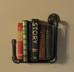 Industrial Shelving Bookshelf, Great For a Urban Apartment where space is limited, Sconce