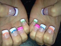 French manicure with a splash of summer color fun