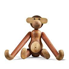 Kay Bojesen Monkey, Ape, Wooden Figure, Teak an Limba Wood, (Medium).Various brown tones Material: Handmade teak and limb wood Dimensions: Height: cm Desinged by Kay Bojesen in 1951 Solid wood cannot tolerate direct sunlight or direct heat Scandinavian Decorative Objects, Scandinavian Design, Nordic Design, Design Shop, Goebel Figuren, Small Monkey, Popular Toys, Little Monkeys, Changing Tables