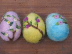 Needle felted easter egg with branches of tree by Made4uByMagic, $11.00
