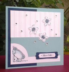 Stampin Up Petite Petals Famose Fähnchen Wortfenster Streifen Jade Mitternachtsblau