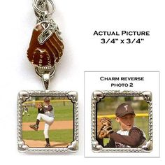 """Keychain with photo and sport charms. Single square photo charm is reversible. Perfect for any sport enthusiast.   Includes 2 photos!   All photos approximately  3/4"""" x 3/4"""""""