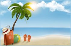 Buy Vacation Background on Beach by almoond on GraphicRiver. Vacation background Beach with palm tree suitcase and flip flops. Fully editable, vector objects separated an. Photoshop World, Free Photoshop, Beach Images, Beach Pictures, Palm Plant, Beach Background, Creative Poster Design, Clip Art, Vector Free Download