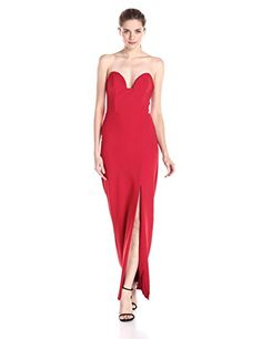 Nicole Miller Womens Techy Crepe Pointed Strapless Gown Lipstick Red 2 *** Click image for more details.