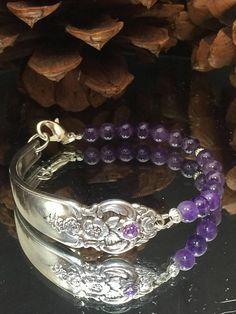 Spoon+Bracelet,+silverware+beaded+bracelet,+silver+bracelet,purple+glass+beads+bracelet,silver+bracelet,+beaded+spoon+bracelet