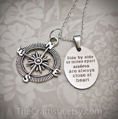 Sister Necklace - S12 - Sister Gift, Sisters Necklace, Sisters Jewelry, Sister Christmas Gift, Big Sister, Little Sister, Compass Charm by TheCraftista on Etsy https://www.etsy.com/listing/254087249/sister-necklace-s12-sister-gift-sisters