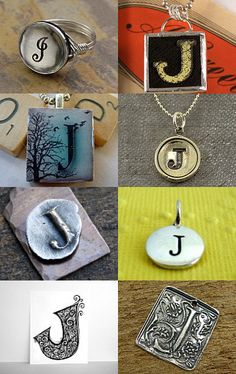 Letter J pendant made from a vintage game piece
