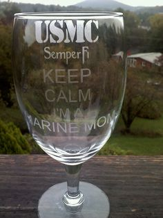 Keep Calm I'm a Marine Mom 12 ounce Etched Wine by ThatGlassStore, $10.00