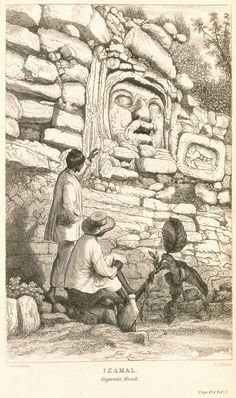 """""""GIGANTIC HEAD"""" – A scene from the ancient Mayan ruins at Izamal in Mexico, illustrated by artist-architect Frederick Catherwood who traveled to Mexico and Central America in (New York Public Library) Aztec Ruins, Mayan Ruins, Tikal, Ancient Greek Architecture, Gothic Architecture, Aztec Culture, Mesoamerican, Strange History, Art Graphique"""