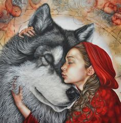 Caperucita roja Wolf and Red Riding hood (original) - Kerry Darlington Red Riding Hood Wolf, Little Red Ridding Hood, Kerry Darlington, Fanart Manga, Wolves And Women, Wolf Spirit, Big Bad Wolf, Fairytale Art, Red Hood