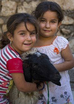Yazidi Twins With A Sheep In The Temple City Of Lalesh, Kurdistan, Iraq <3