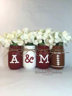 Texas AM Mason Jars Aggie Decor Texas Decor by RebekahCreations Texas A&m, Texas Tech, Mason Jar Projects, Mason Jar Crafts, Mason Jar Diy, Cute Crafts, Diy And Crafts, Arts And Crafts, M Craft