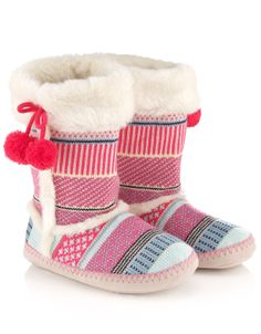 Bubble Fairisle Slipper Boots | Multi | Accessorize