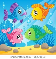Illustration of Fish theme image 1 - vector illustration vector art, clipart and stock vectors. Painting For Kids, Art For Kids, Sea Theme, Fish Theme, Mhendi Design, School Coloring Pages, Cartoon Fish, Ocean Wallpaper, Fish Art