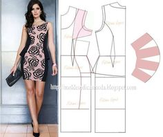 Modelagem de vestido com recorte na pence e peplum na lateral. Fonte: https://www.facebook.com/photo.php?fbid=715143498514591&set=a.262773027084976.75978.143734568988823&type=1&theater