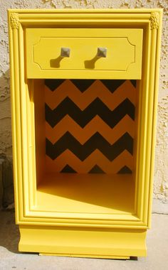 Vintage Upcycled Yellow and Grey Chevron by siennabellarose, $175.00