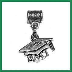 """""""Graduate 2017"""" Tibetan Silver Hanging charm for Pandora style bracelets, neck chains or key chains."""