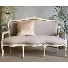 One of a Kind Vintage Settee Louis XV Distressed White