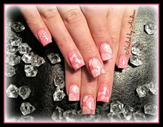 pink lace- gel nails