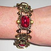 Vintage Deep Pink Rhinestone Bracelet