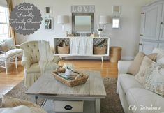 Family Room Reveal-Thrifty, Pretty & Functional - City Farmhouse  love the table and color scheme