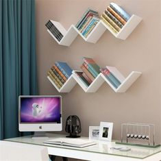 Fdit 3 Colors Creative Floating Wall She. - Fdit 3 Colors Creative Floating Wall Shelf Rack Hanging Bookshelf Home Decor,Floating Wall Shelf, H - Wall Mounted Bookshelves, Bookshelves In Bedroom, Floating Bookshelves, Floating Wall Shelves, Diy Bookshelf Wall, Bookshelf Ideas, Small Bookshelf, Wall Shelves For Books, Modern Bookshelf