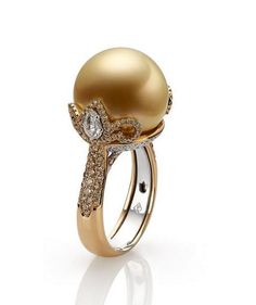 Pearls can get a bad rep for being old-fashioned. Simply the mention of pearls and you're likely imagining a single strand worn by your grandmother. As of late, however, pearl engagement rings have… Pearl Ring, Pearl Jewelry, Diamond Jewelry, Antique Jewelry, Jewelry Bracelets, Golden South Sea Pearls, Ring Earrings, Turquoise Jewelry, Wedding Jewelry