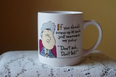 Vintage Coffee Mug, Bill Clinton, Don't Ask Don't Tell, Recycled Paper Products, Message Mug, Fun, Kitshy, Gift for Co Worker or Friend by BrindleDogVintage on Etsy
