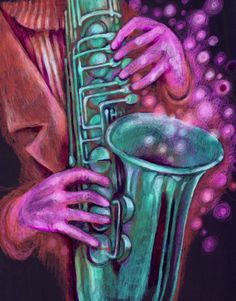 """Pictured is """"Hands on Jazz,"""" an original colored pencil drawing by Chris Hodge of North Aurora, an artist who rents space at Water Street Studios in Batavia."""