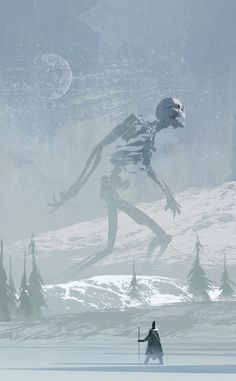 Undead Giant concept art by Christian Bravery aka The Brave. #undead #illustration #conceptart Guessing this is what the giant skeletons in icecrown look like.