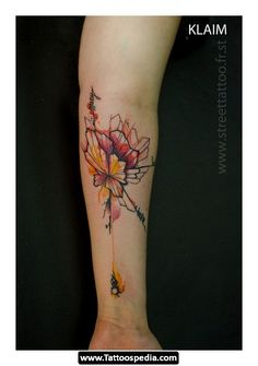 marvelous spider&flower watercolor tattoo on forearm - quote, animal