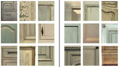 """various painted cabinet finishes from Leslie Sinclair """"Segreto, Guide to finishing Beautiful Interiors""""."""