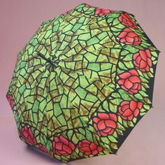 Tiffany Green with Red Roses Umbrella