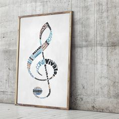Gorgeous typographical representation of the G clef notation, with the note constructed with a lengthy list of famous classical music composers.