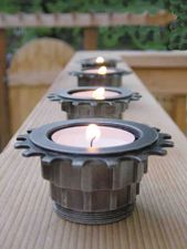 Bicycle part tea light holder- great reuse