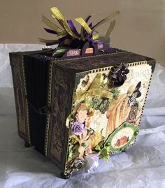 Handcrafted Graphic 45 An Eerie Tale Accordian Photo Storage Tag Box    eBay
