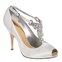 Step out in satin peep-toe pumps with Swarovski crystal detail, $875, by Giuseppe Zanotti Design, vicinishoes.com.