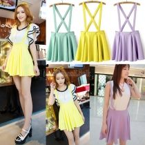 Women's Fashion Candy Color Braces Short Suspender Skirt 3 Colors 2 Sizes