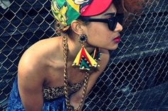 Take a walk on the wild side of Barbados in The Carribbean. All the current trends are here in this redux and retro ray bans 90s Hip Hop Outfits, Cute Outfits, 90s Fashion, Fashion Art, Hipster Fashion, Afro, Rasta Colors, Swag, What I Wore