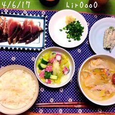 かつおのたたき たこのレモンサラダ オクラのごまマヨ和え 豚汁 - 67件のもぐもぐ - 晩ごはん by hir0oo0