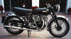 Vincent Series D Black Shadow =The Black Shadow, first introduced in 1949, survived through 1955 and along the way broke speed records on several continents. It won an extraordinary following, and many Vincents are still ridden on a daily basis. The Vincent was the first true 100 mph tourer.