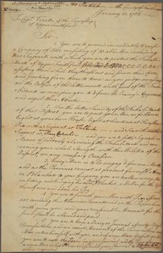 Benjamin Franklin's Letter to Captain Vanetta, Upper Smithfield, County of Northampton, January Handwritting, January 12, Penmanship, New York Public Library, Letters, Calligraphy, Lettering, Letter