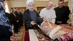Pope Francis (C) and Iranian President Hassan Rouhani (L) exchange gifts during their private audience on January 26, 2016, at the Vatican.   President Hassan Rouhani described Iran as the safest and most stable country in the Middle East as he urged international investors to help modernise the country's sanctions-hit economy. On the second day of a landmark visit to Europe, the Iranian leader also pitched the Islamic Republic's potential for companies seeking a base in a region of ...